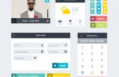 Flat Grid Layout Web UI Kit PSD
