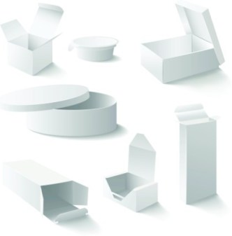 Set Of Vector Clean Packing Box Templates