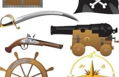 Vector Cartoon Pirate Elements 01