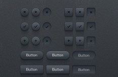 Dark Button UI Kit PSD