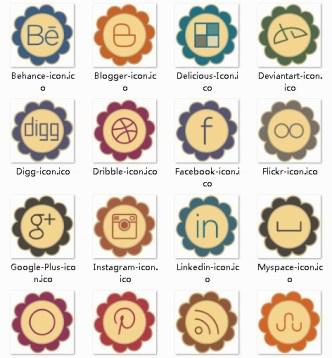 Retro Petal Like Social Media Icons