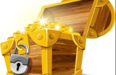 Vector Pirate Treasure Chest Full of Gold 03