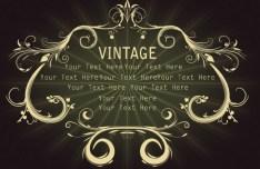 Golden Vintage Floral Framework Vector 03