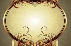 Golden Vintage Floral Framework Vector 04