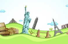 Most Famous Landmarks in the World Vector Illustration 01