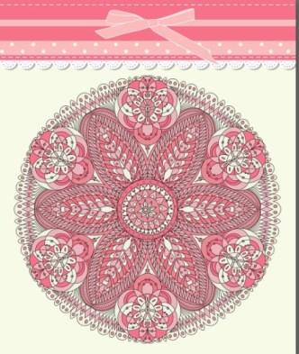 Retro Pink Invitation Card Cover Design Elements Vector 01