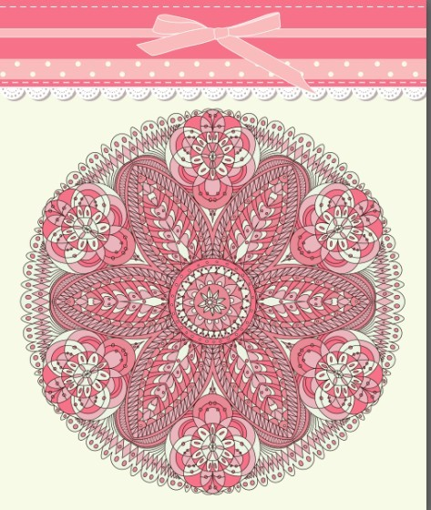 Retro Pink Invitation Card Cover Design Elements Vector 01