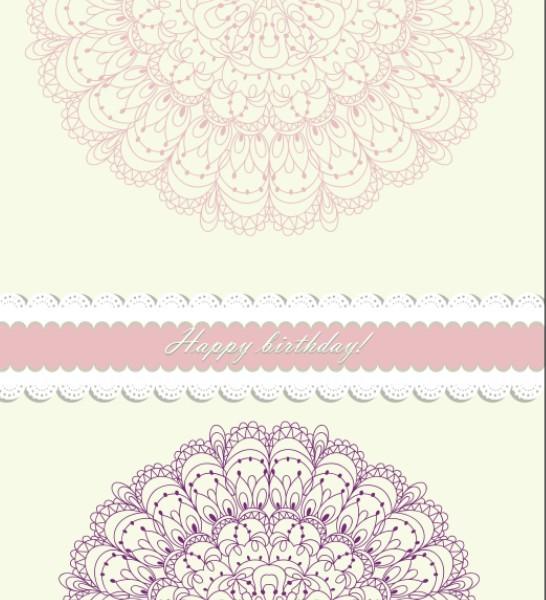 Retro Pink Invitation Card Cover Design Elements Vector 04