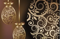 High Quality Golden Happy Easter Vector Background 02