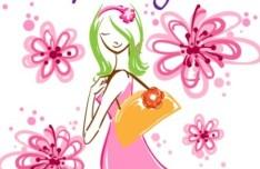 Fashion Hand Drawn Vector Spring Girl 01
