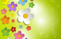 Paper Like Spring Flower Vector label 03