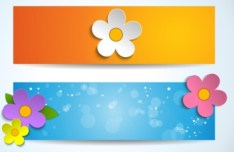 Set of Cartoon Spring Flower Banners 02