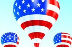 Vector Hot Air Balloon American flag