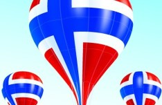 Vector Hot Air Balloon Norwegian flag