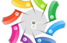 Colored Data Origami Vector Labels For Infographic 02