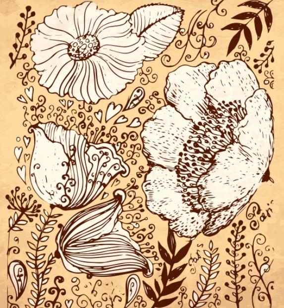 Vintage Dark Hand Drawn Vector Flowers 05