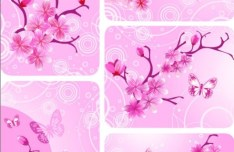 Classical Vector Pink Peach Blossom Card Background