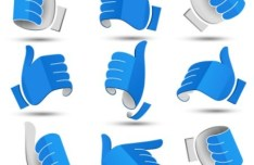 Creative 3D Origami Gesture Vector Icons