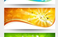 Vector Bright Spring Banners with Wavy Curves And Sunshine Background 02