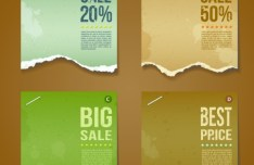 Creative Vector Sale Labels with Torn Paper Effect 04