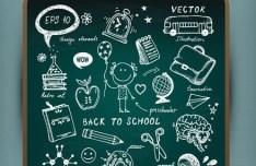 Cute Back To School Chalkboard Vector Illustration