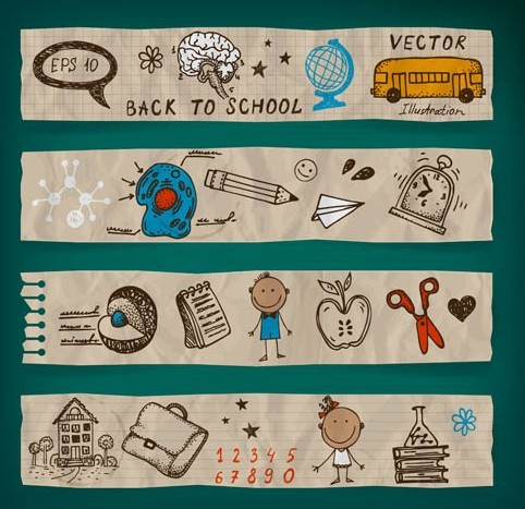 Cute Back To School Vector Banners 02