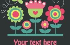 Cute Retro Flowers Vector Illustration 01