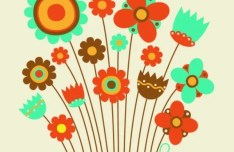 Cute Retro Flowers Vector Illustration 04
