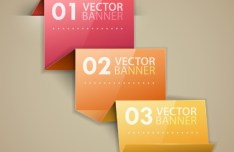 Stylish Infographic Origami Numeric Label Elements 02