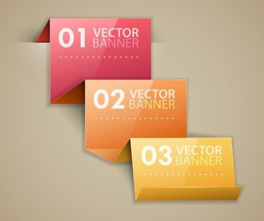 Stylish Infographic Origami Numeric Label Elements 02