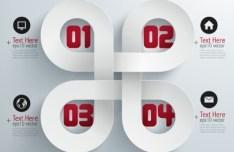 Stylish Infographic Origami Numeric Label Elements 03