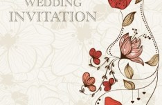 Vintage Wedding Invitation Card with Floral Background 01