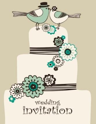 Vintage Wedding Invitation Card with Floral Background 02