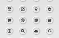 White Embossed Web Icon Set PSD