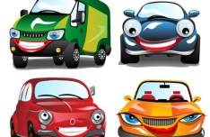 Cute Cartoon Cars Vector