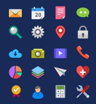 20+ Flat and Colored Web Icon Pack