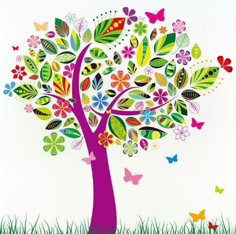 Colorful Abstract Tree with Flowers Vector Pattern