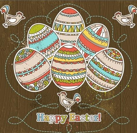 Colorful Easter Egg Background Vector 03