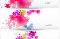 Vector Colorful Spring Banners with Splash Star Backgrounds