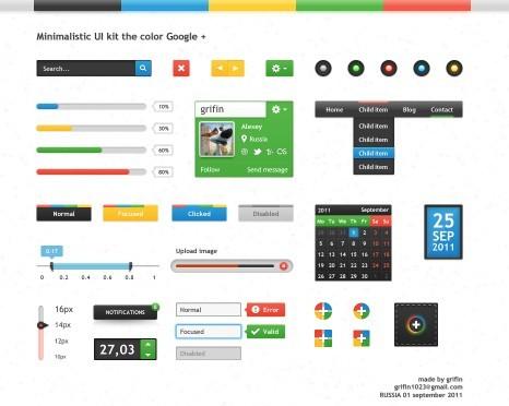 Google Plus Style Web UI Kit PSD