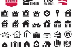 Black and White Home Icon Set Vector