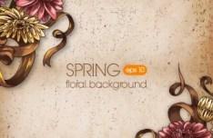 Elegant Colorful Spring Flower Background 01