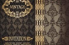 Vintage Golden Floral Pattern Background Vector 01