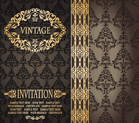Vintage Golden Floral Pattern Background Vector 01