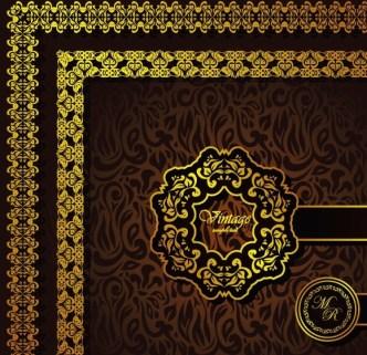 Vintage Golden Floral Pattern Background Vector 04