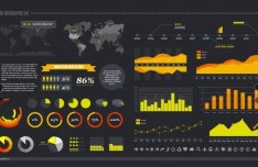Dark Vector Infographic Elements Kit