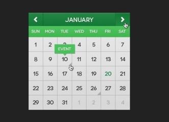 Flat Mini Calendar Widget PSD