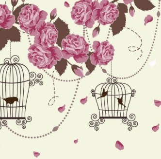 Retro Hand Drawn Flower and Bird Background Vector 01