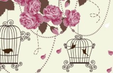 Retro Hand Drawn Flower and Bird Background Vector 01