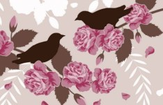 Retro Hand Drawn Flower and Bird Background Vector 02